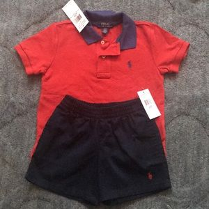 Two pieces. Polo shirt with shorts